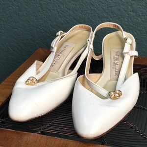 Shoes - Naturalizer Pump Sandals, White & Gold with Pearls